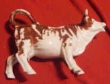 1498 Cow Creamer with Brown Markings
