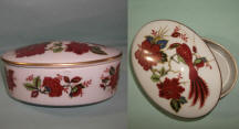200 Trinket Box with red flowers and Bird of Paradise