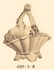 4359/3/R Porcelain Basket with Roses