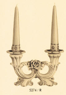 5274/R Candleholders with Raised Roses