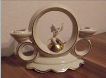 5319 Double Candle Holder with Cherub inside a Ring