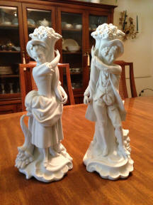 5895/A & 5895/B Bisque Victorian couple
