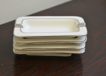 6485/A Silver plated rectangular White Ashtrays