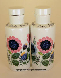 7568 Pink & Blue Floral Oil & Vinegar Cruets