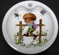 Baby Warming Dish depicting Boy Climbing Fence