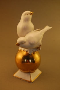 Pair of Birds on a Gold Ball
