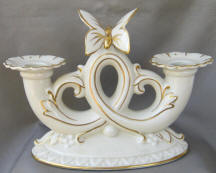 Double Horned Candleholder with Butterfly