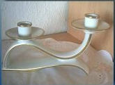 Double Candleholder on Curved Ribbon