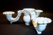 Triple Horned Candleholder with Center Vase