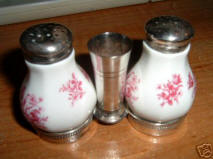 Gerold Porzellan Salt & Pepper with Silver Toothpick cup