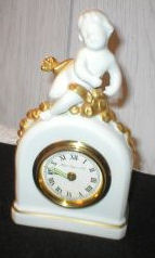 Porcelain Mantle Clock with Cherub