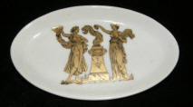 Oval Pin Dish with Gold Athenian Goddesses