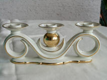 Gerold Porzellan With Gold Ball Triple Candleholder