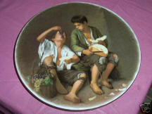 Boys Eating Grapes Decorative Plate