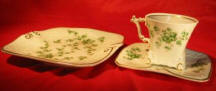 Cup & Saucer with Green flower pattern