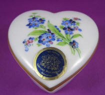 Heart-shaped trinket box with handpainted forget me nots