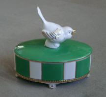 Bird on Lid Trinket Box Neu Porzellan Tettau